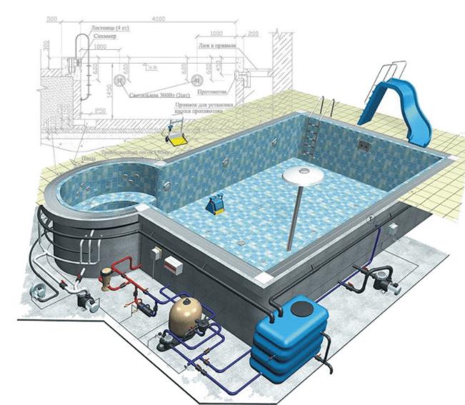 план расстановки оборудования для бассейна
